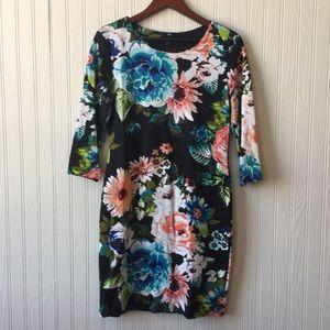 H&M Black Floral Bodycon 3/4 Sleeve Dress Size L